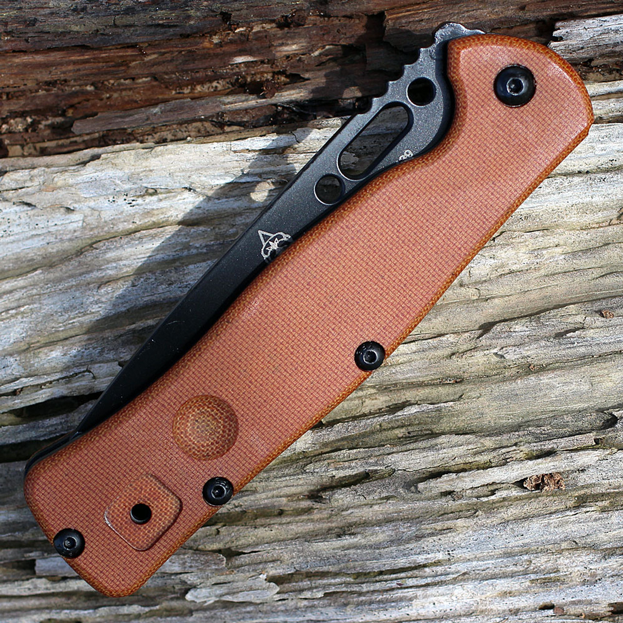 "TOPS FCF01 Fieldcraft Folder, 4.38"" 1095 Plain Blade, Tan Canvas Micarta Handle"