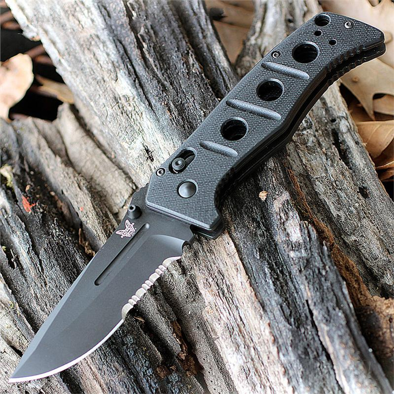 Benchmade Adamas Axis Folder 275SBK, 3.82 in. D2 Stainless Blade, Black Combo Edge