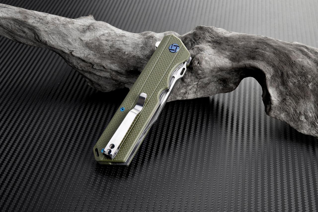 Artisan Littoral ATZ1703PGN , 3.54 in. D2 Plain Blade, Green G10 Handle