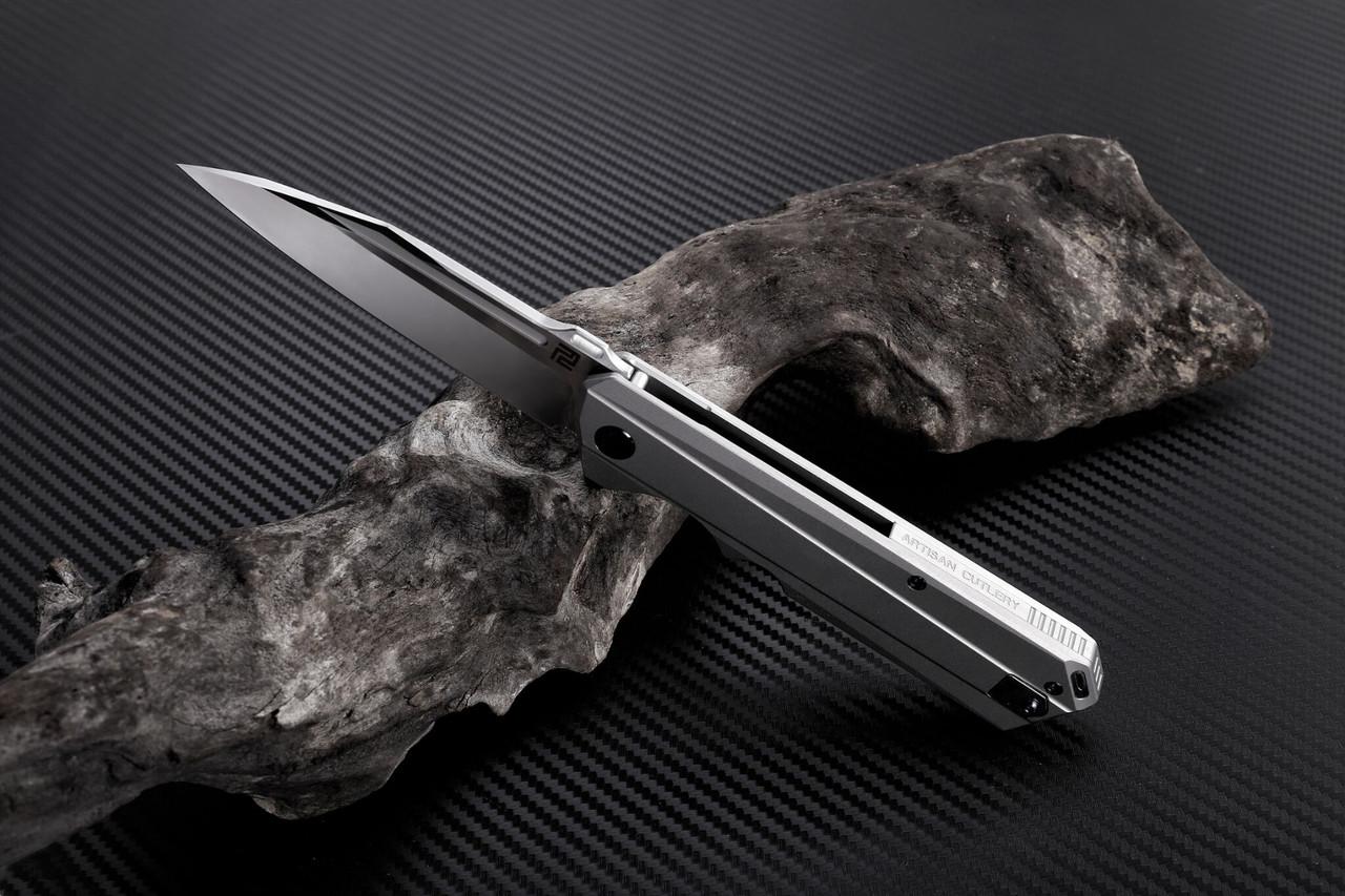Artisan Littoral ATZ1703GST, 3.54 in. S35VN Plain Blade, Grey Titanium Handle