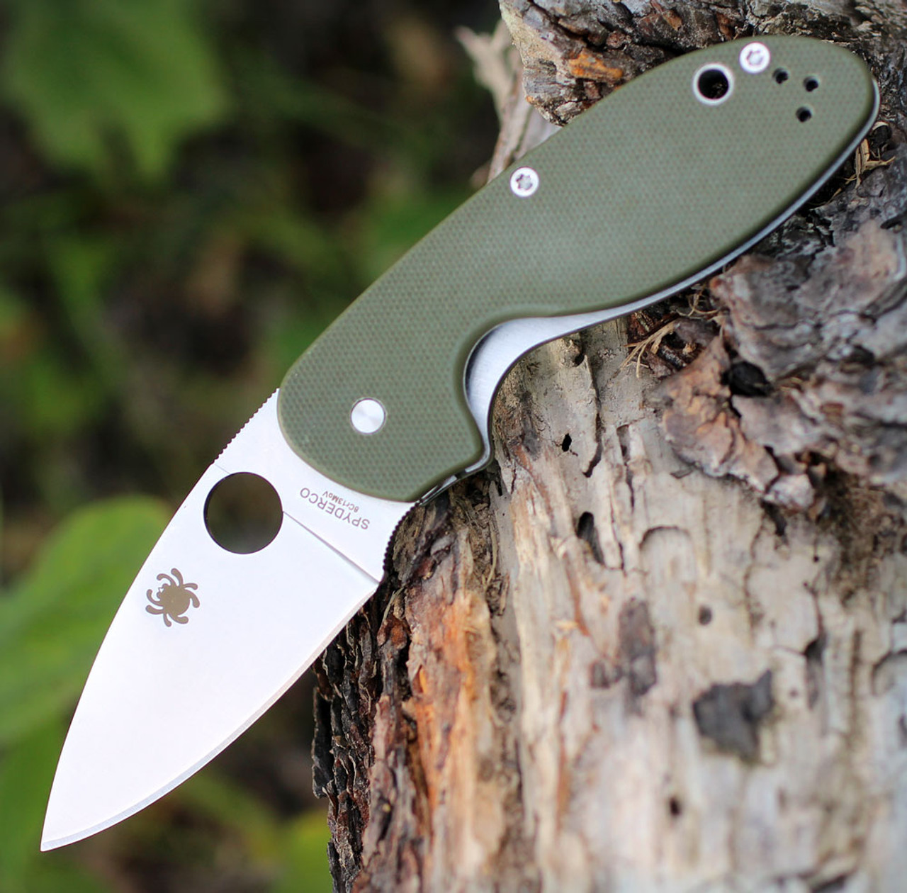 Spyderco C216GPGR EFFICIENT, Satin Plain Blade, Green G-10 Handle