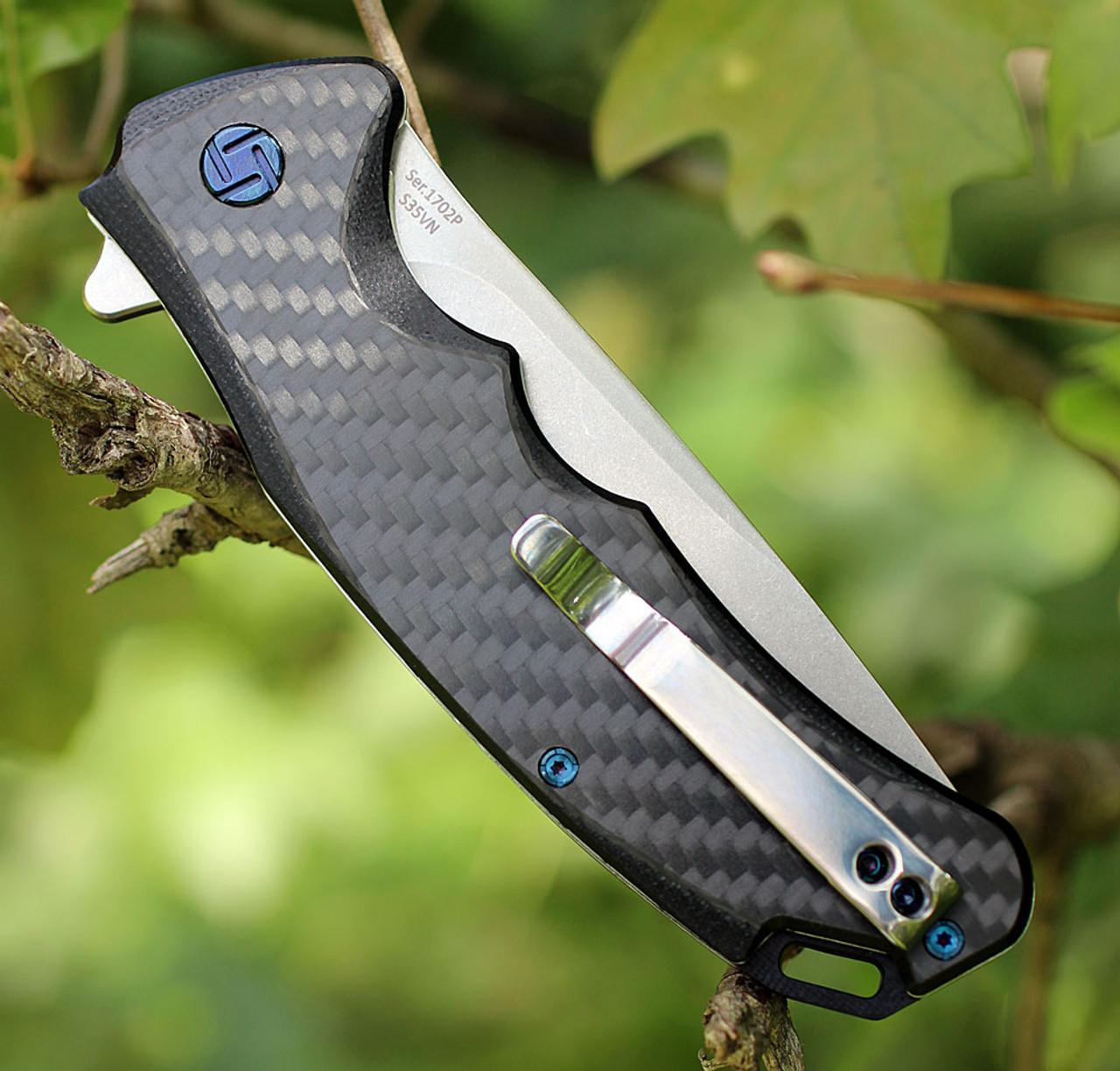 "Artisan Tradition ATZ1702PCF, 3.94"" S35VN Plain Blade, Carbon Fiber Handle"