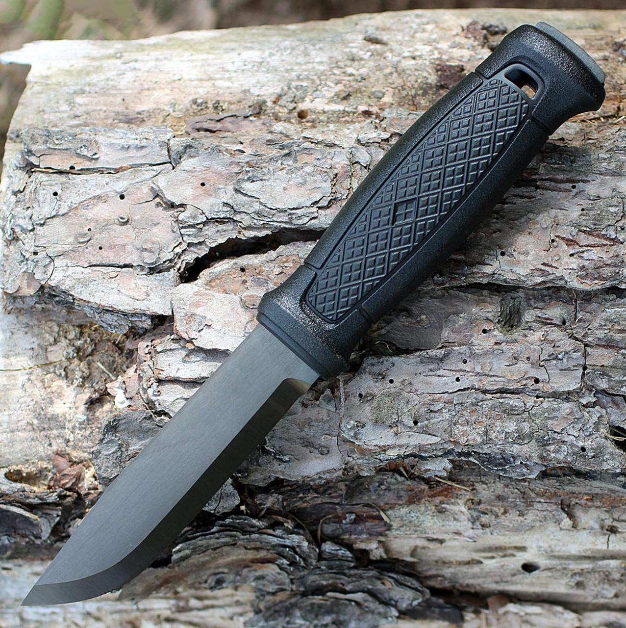 "MoraKniv Garberg, 4.25"" Carbon Steel Black Plain Blade, Black Leather Sheath"