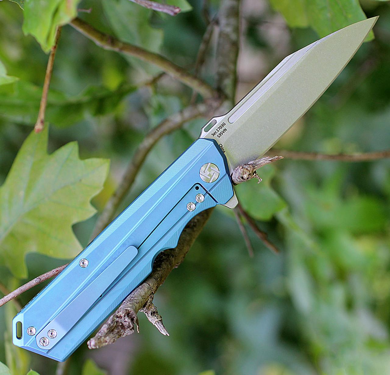 Artisan Littoral  ATZ1703GBU, 3.54 in. S35VN Plain Blade, Blue Titanium Handle