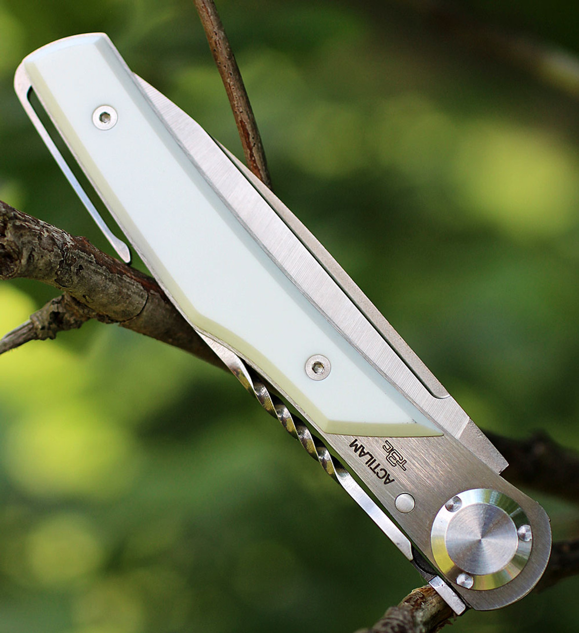 Actilam T3CC White Corian Folder with Clip, 3.25 in. X50CrMoV15N Plain Blade
