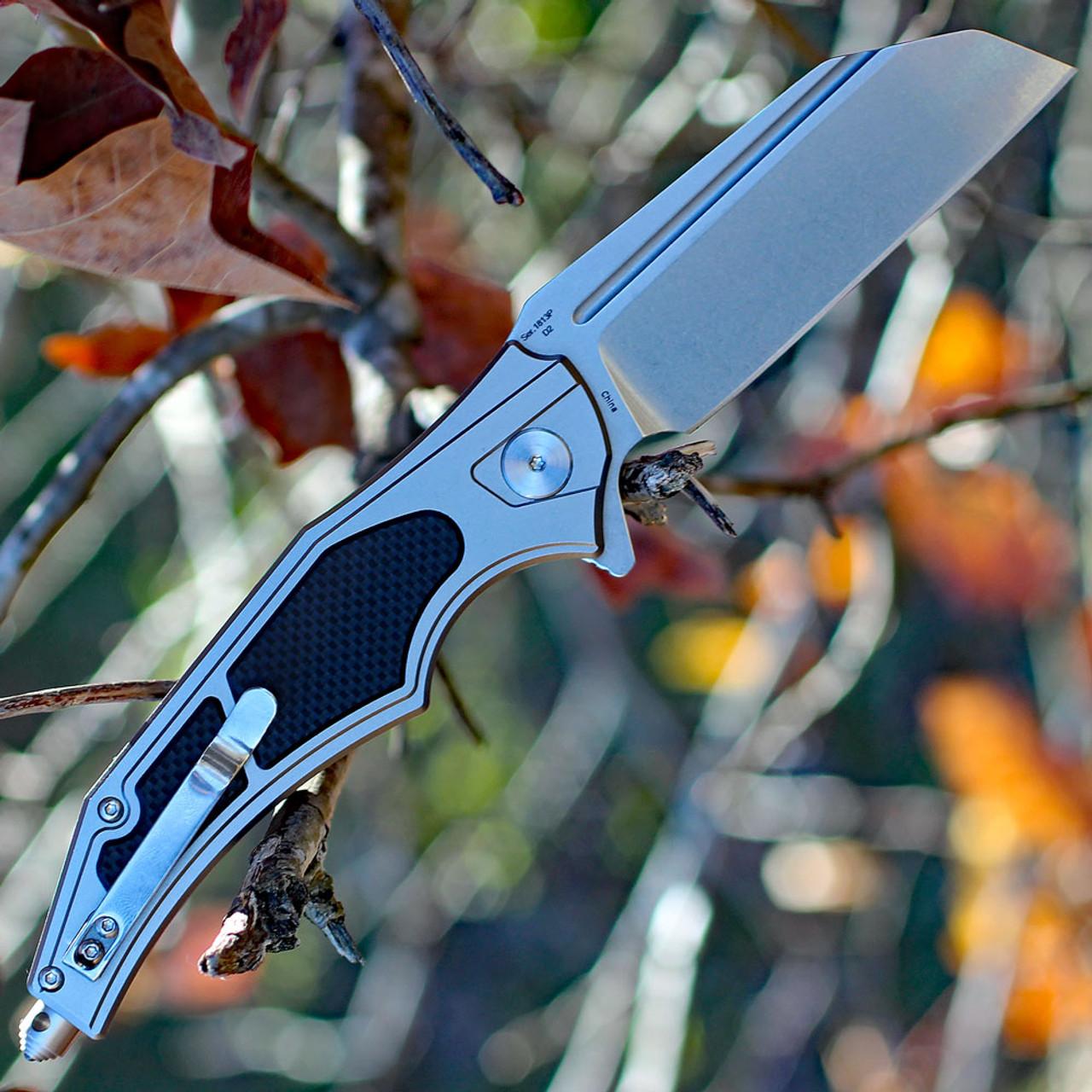"Artisan Apache ATZ1813PGBK, 3.7"" D2 Plain Blade, Gray/Black Aluminum/G-10 Handle"