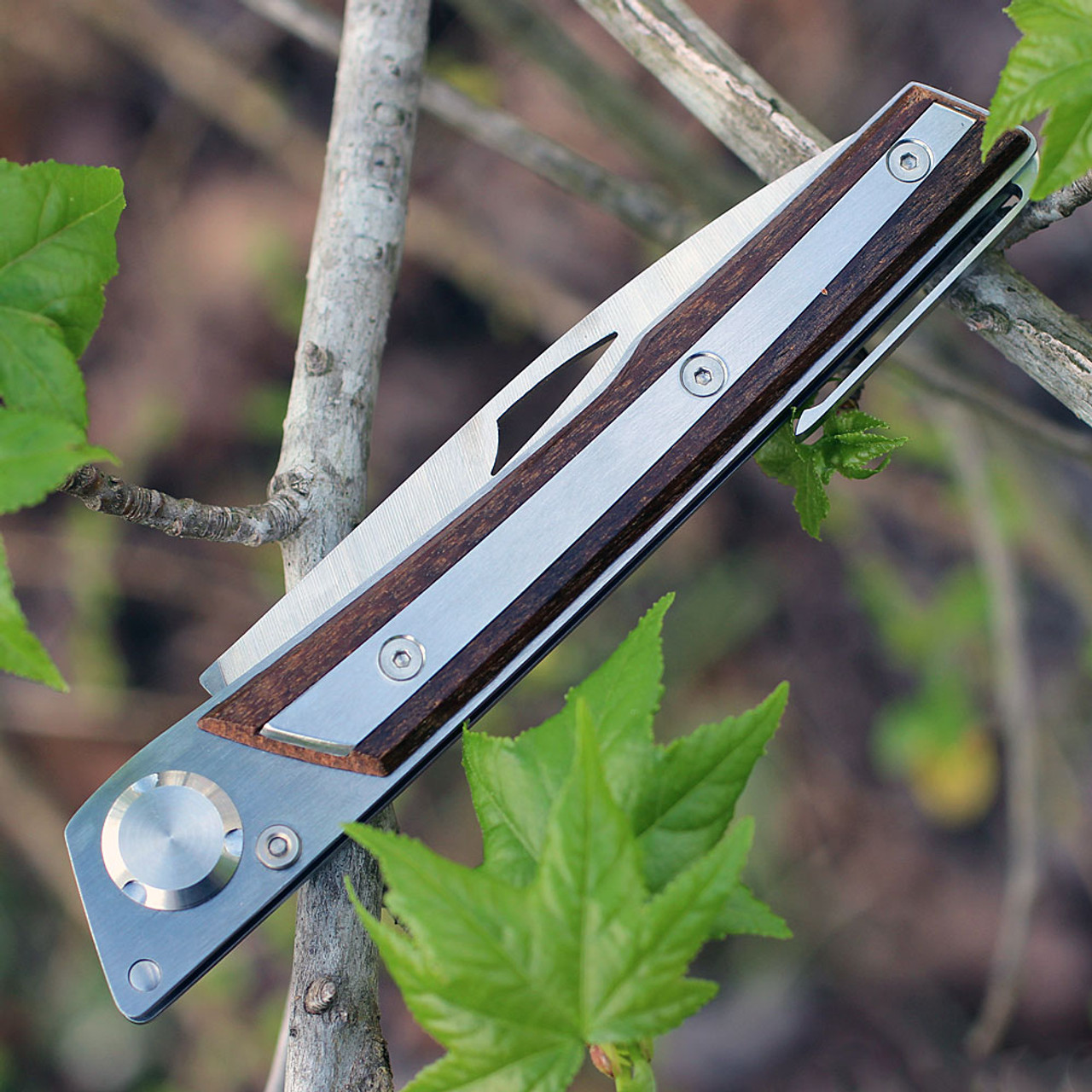 Actilam S4CWC Wood Folder w/ Clip, 3.375 in 14C28N SS Plain Blade