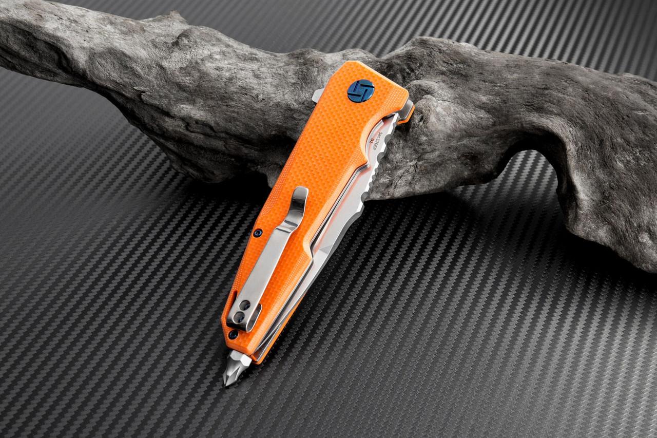 "Artisan Predator ATZ1706POE, 3.74"" D2 Steel, Orange G-10 Handle"