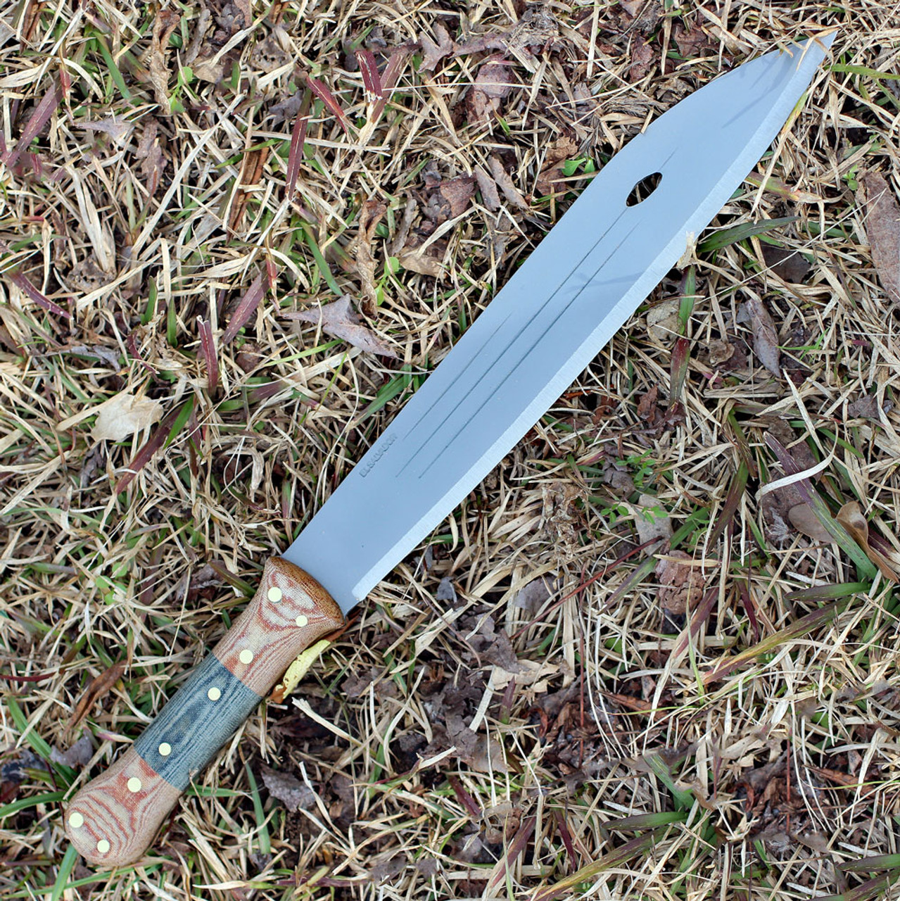 "Condor Primitive Bush Machete, 12"" Satin 1075 Carbon Steel Blade, Black Linen Micarta Handle, Brown Leather Sheath"