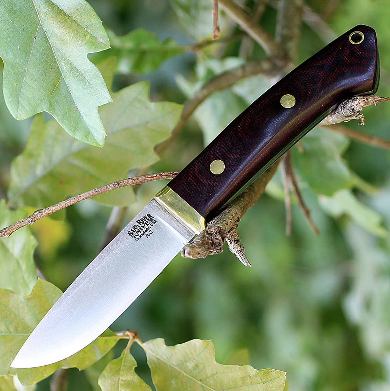 "Bark River 02116MBU Classic Drop Point Hunter, 3.7"" A-2 Steel, Burgundy Canvas Micarta"