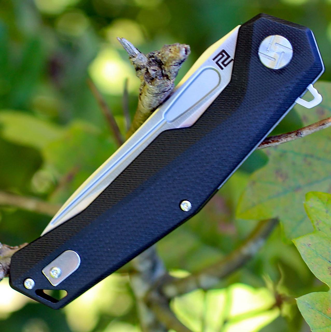 "Artisan Zumwalt ATZ1808PBKC, 3.94"" D2 Plain Blade, Curved Black G-10 Handle"