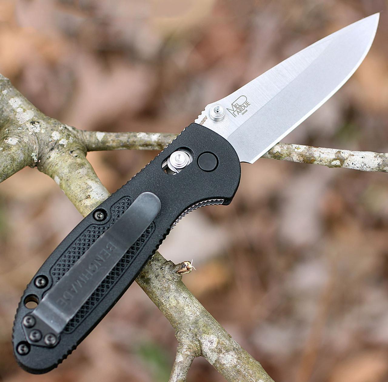"Benchmade Mini Griptilian 556-S30V, 2.91"" S30V Drop Point Plain Blade, Black Noryl GTX Handle"