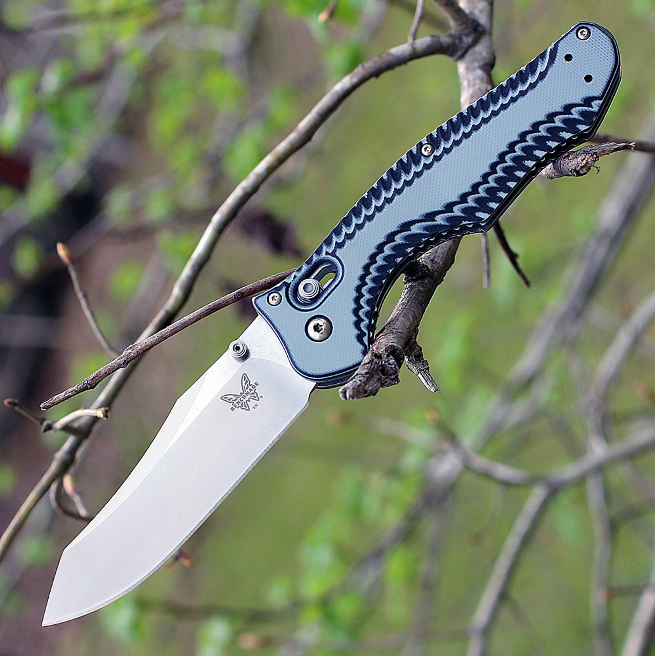 "Benchmade 810-1801 Contego, 3.9"" M390 SS Satin Plain Blade, Black/Grey G-10 Handle, Knifeworks Exclusive"