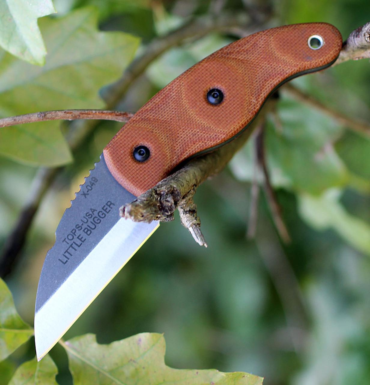 "Tops Knives LILB-01 Little Bugger,  2.38"" 1095 Carbon Steel, Tan Canvas Micarta Handle"