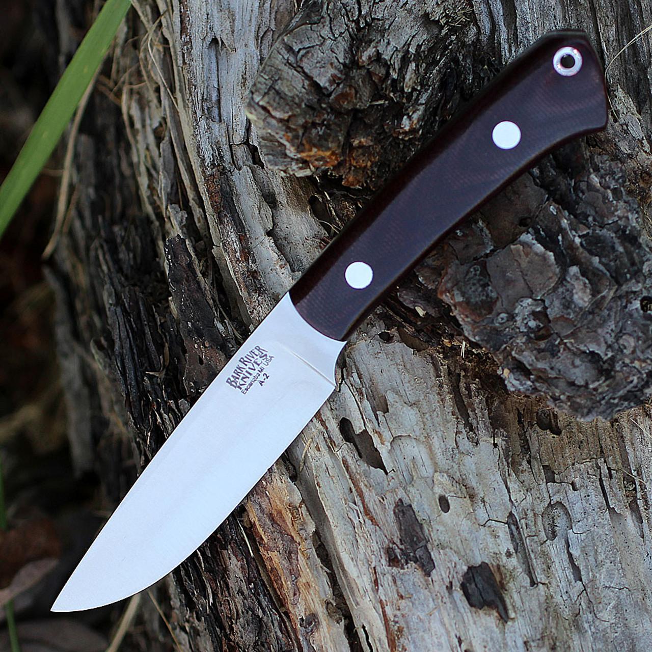 "Bark River Highland Special 01-114M-BU, 3.875"" A2 Steel, Burgundy Canvas Micarta Handle"