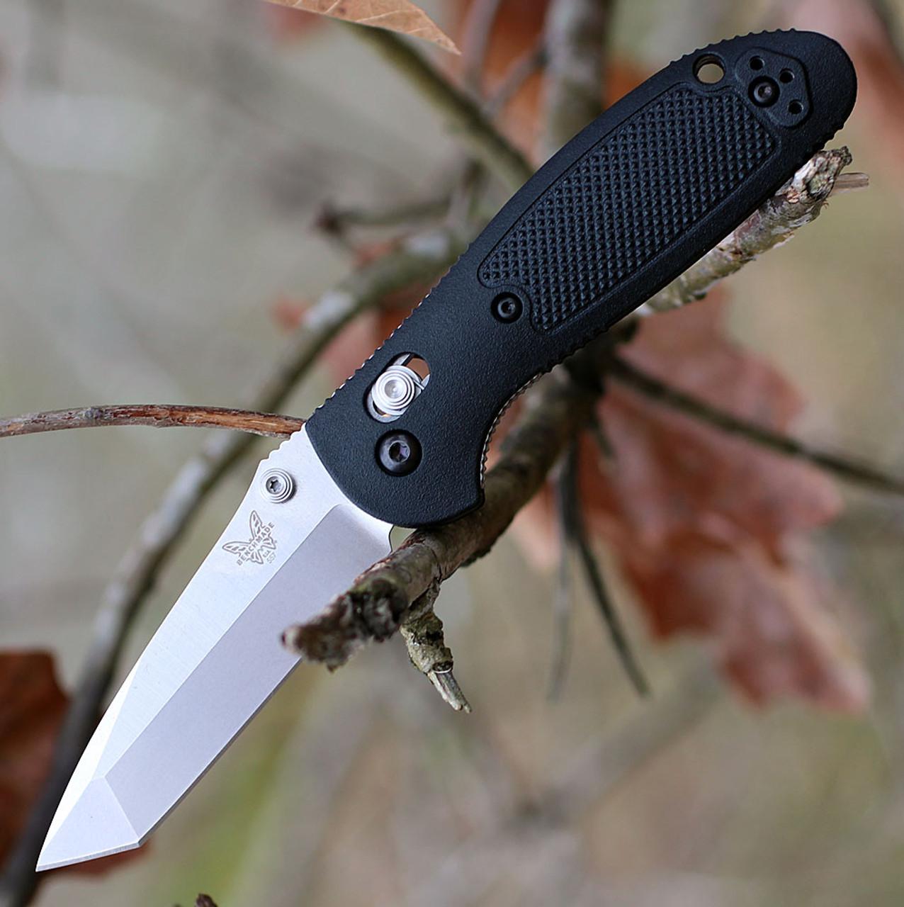 "Benchmade Mini Griptilian 557-S30V, 2.91"" CPM-S30V Plain Tanto Blade, Black Noryl GTX Handle"