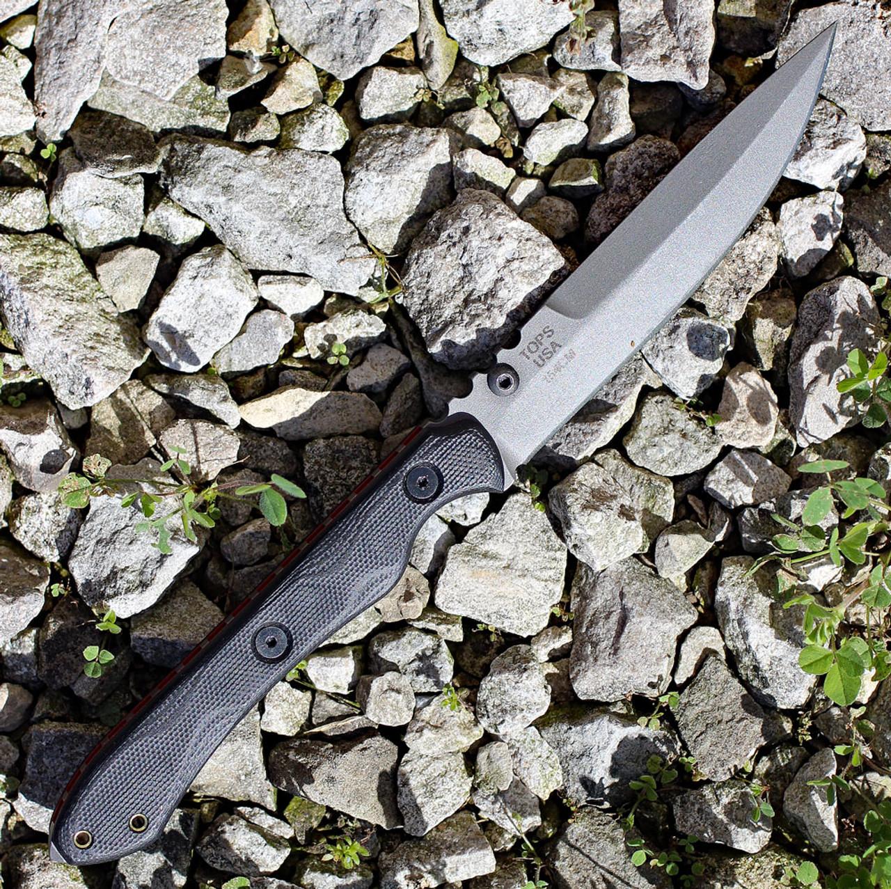 "TOPS RDSK-01 Rapid Strike, 4.13"" 154cm Tumble Plain Blade, Black G-10 Handle"