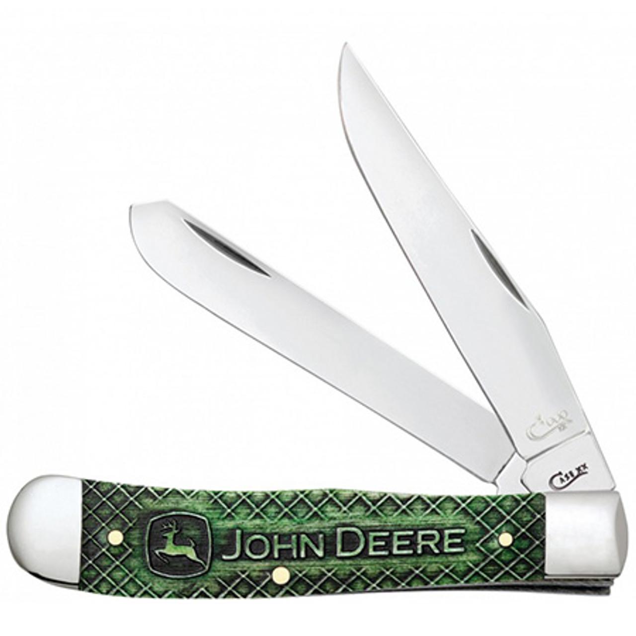 Case 15764 Trapper Gift Set, John Deere Natural Bone w/Green Color Wash (6254 SS)