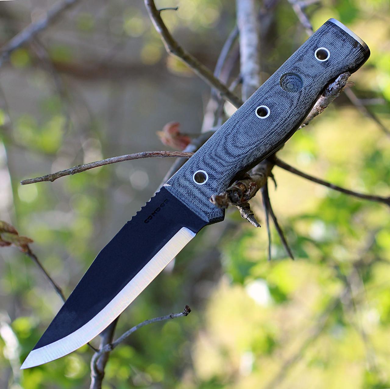 """Condor CTK246-4.5HC Final Frontier, 4 1/2"""" 1075 Cabon Steel Black Blade, Micarta Handle"""