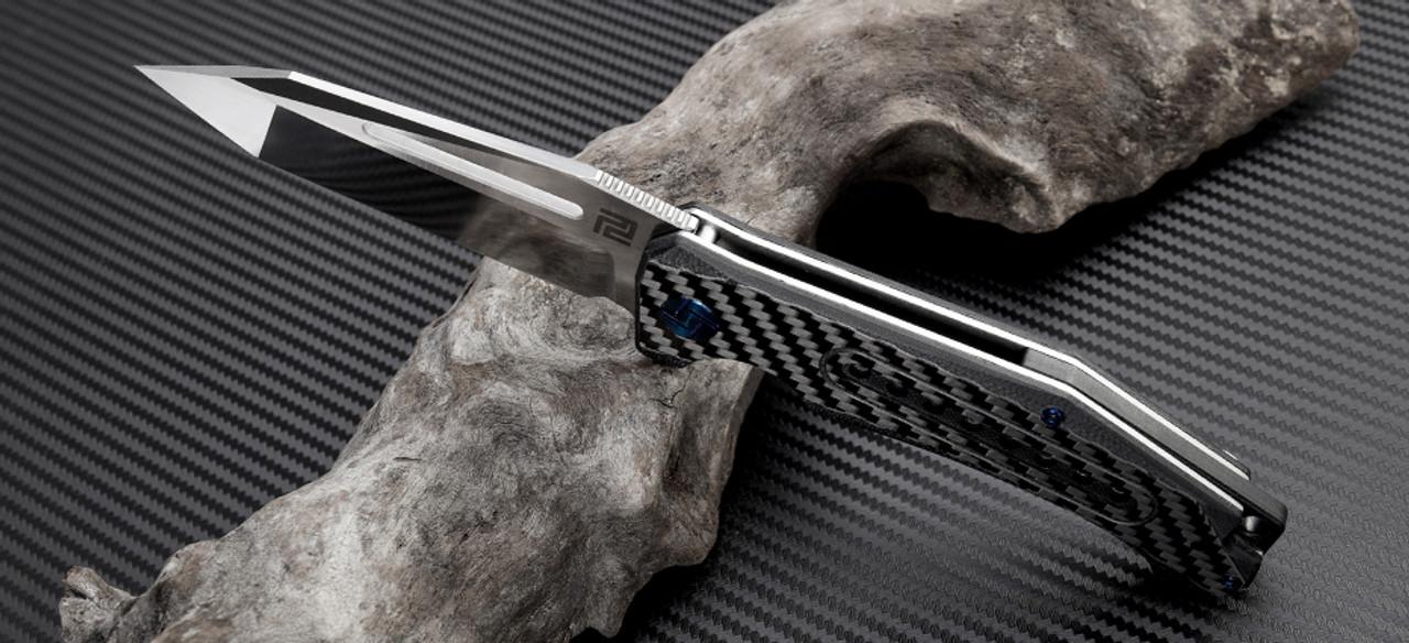 "Artisan Jungle ATZ1705PCF, 3.94"" S35VN Plain Blade, Carbon Fiber Handle"