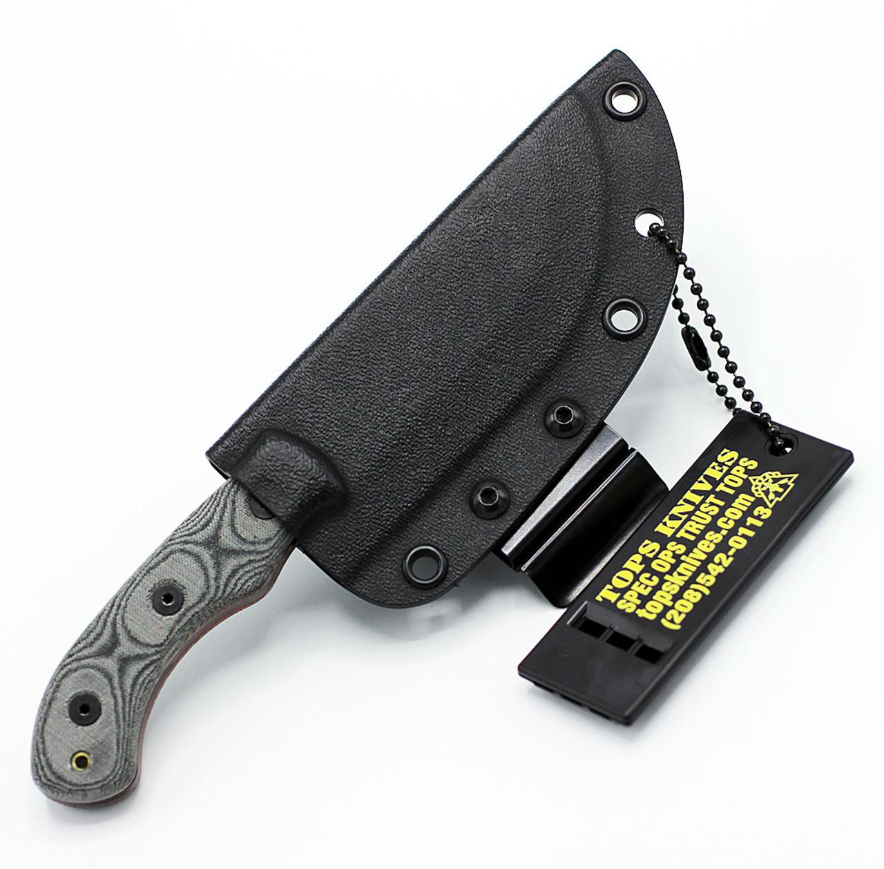 "TOPS TBT-040CAMO Tom Brown Tracker #4 , 3.50"" 1095 Steel Camo Finish, Black Linen Micarta Handle"