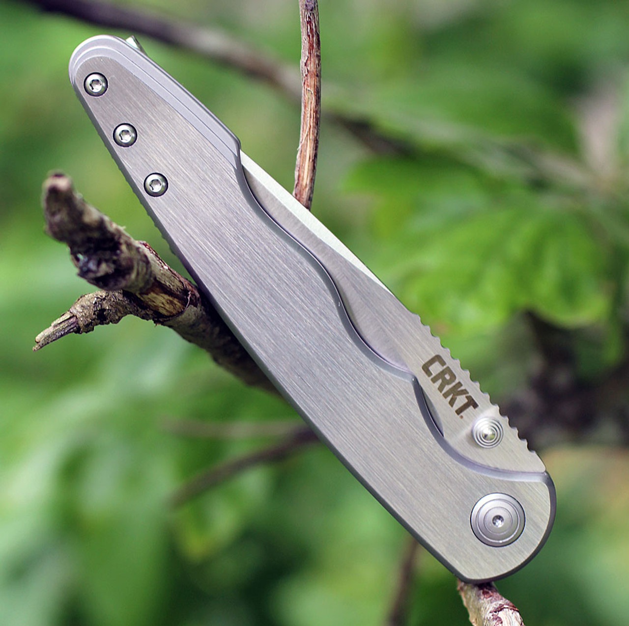 """CRKT 7016 Flat Out Framelock A/O, 3.57"""" 8Cr13MoV SS Plain Blade, Brushed Stainless Handle"""