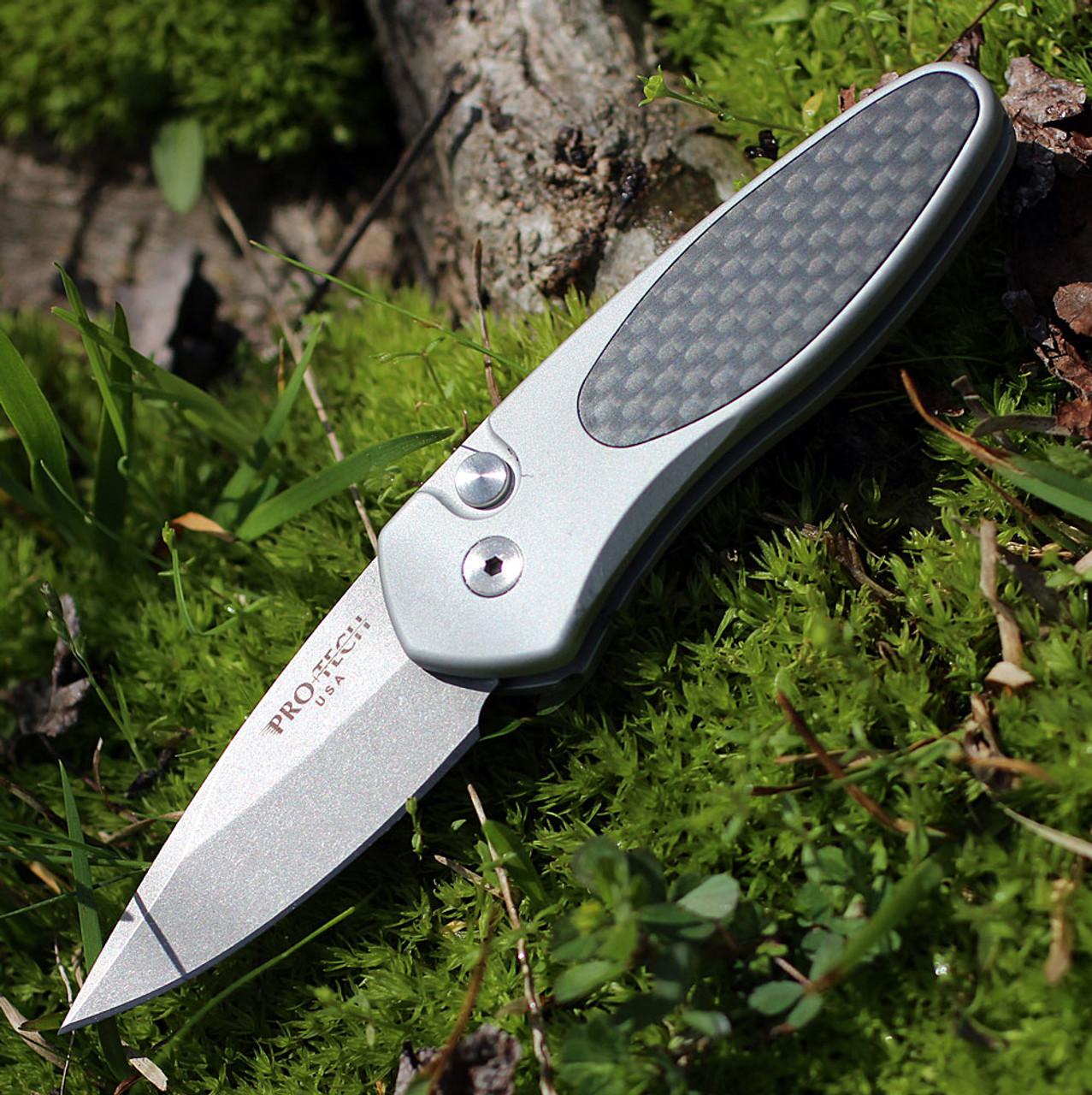 "ProTech 2910 Sprint, 2"" S35VN Spear Point Blade, Carbon Fiber/Silver Aluminum Handle"