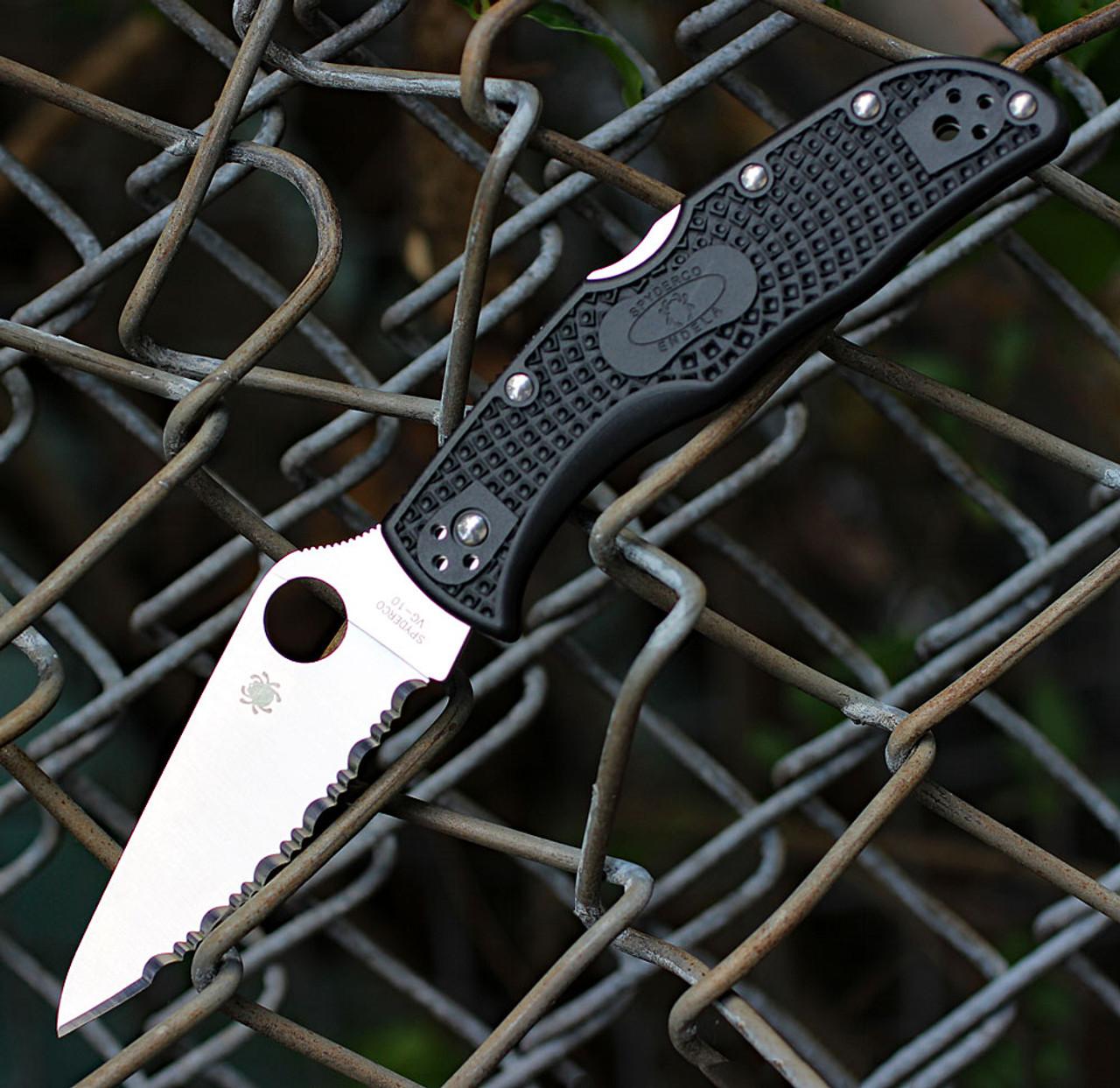 """Spyderco Endela Lightweight C243SBK, 3.41"""" VG-10 Spyder Blade, Black FRN Handle"""