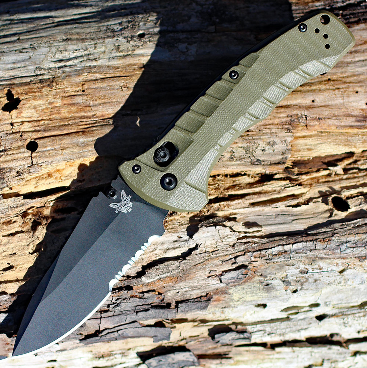 """Benchmade 980SBK Turret Axis Lock, 3.70"""" CPM-S30V Black Serrated Blade, Olive Drab G10 handles"""