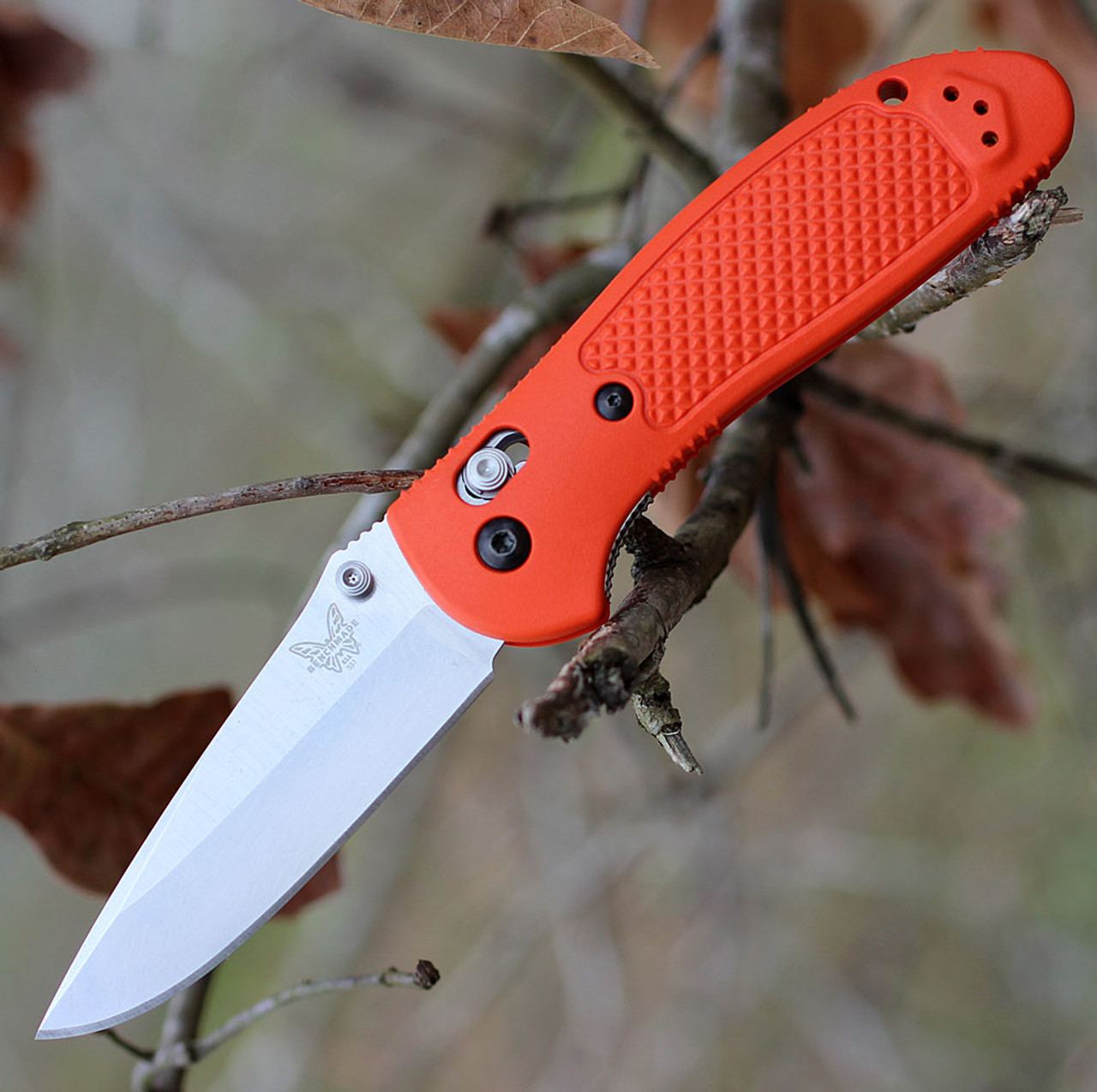 "Benchmade Griptilian 551-ORG-S30V, 3.45"" S30V Drop Point Plain Blade, Orange Noryl GTX Handle"