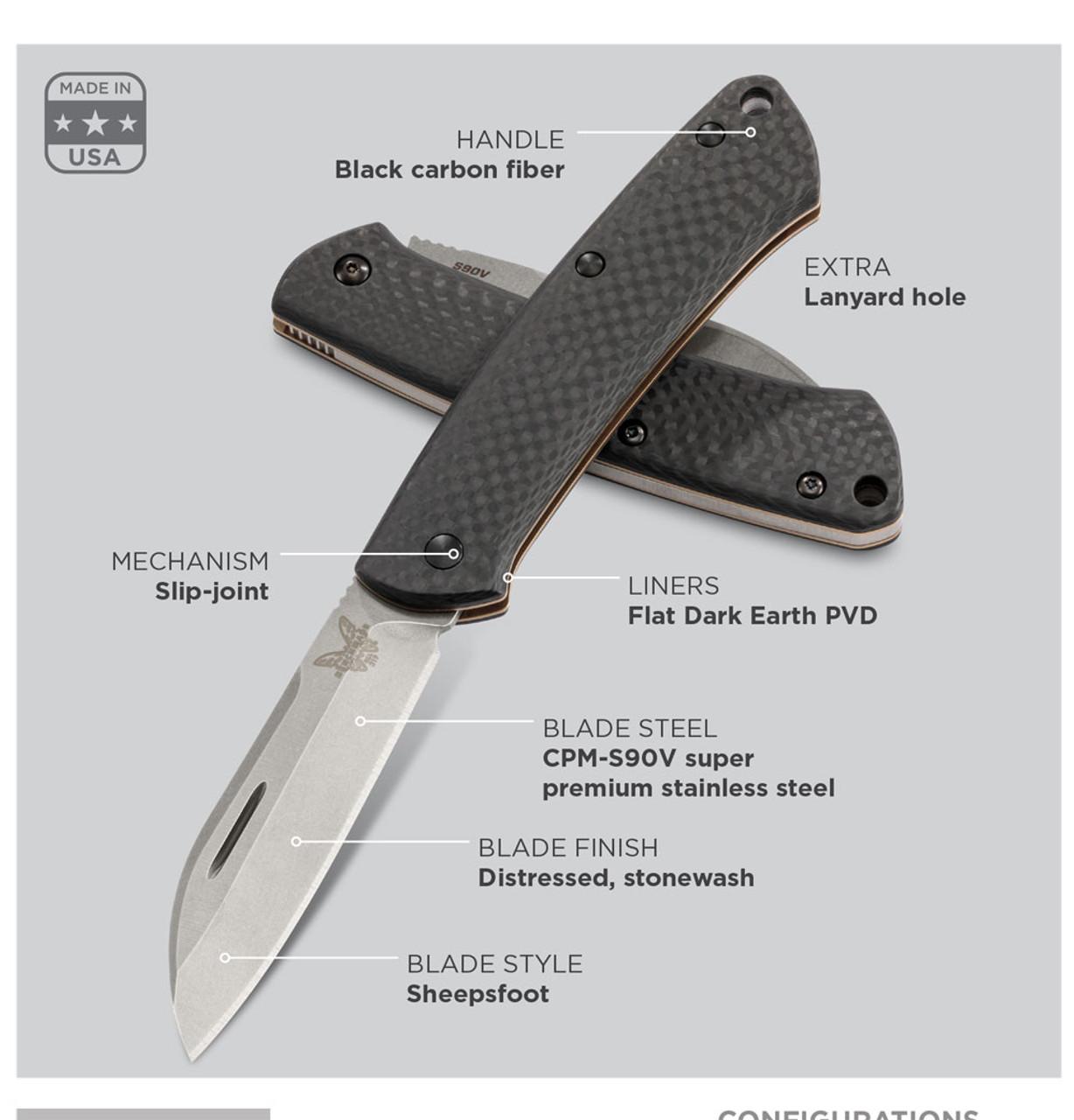 """Benchmade 319-2 Proper, 2.82"""" CPM-S30V Sheepsfoot Blade, Carbon Fiber Handle"""