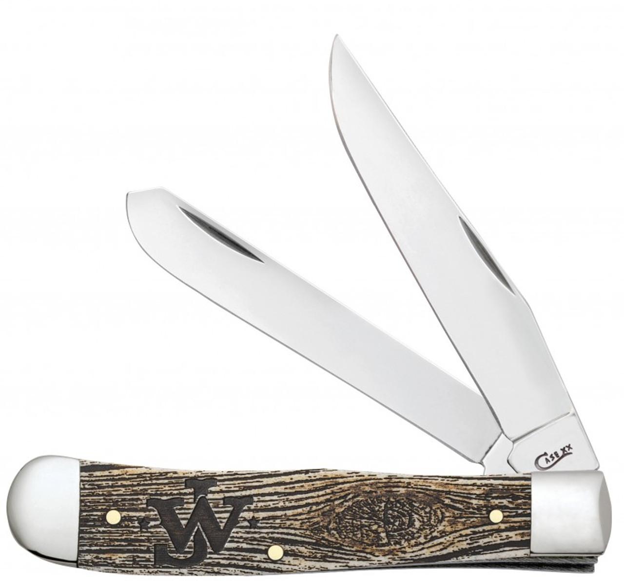 Case John Wayne Trapper 10705, Tru-Sharp SS Blade, Natural Bone with Amber Color Wash Handle
