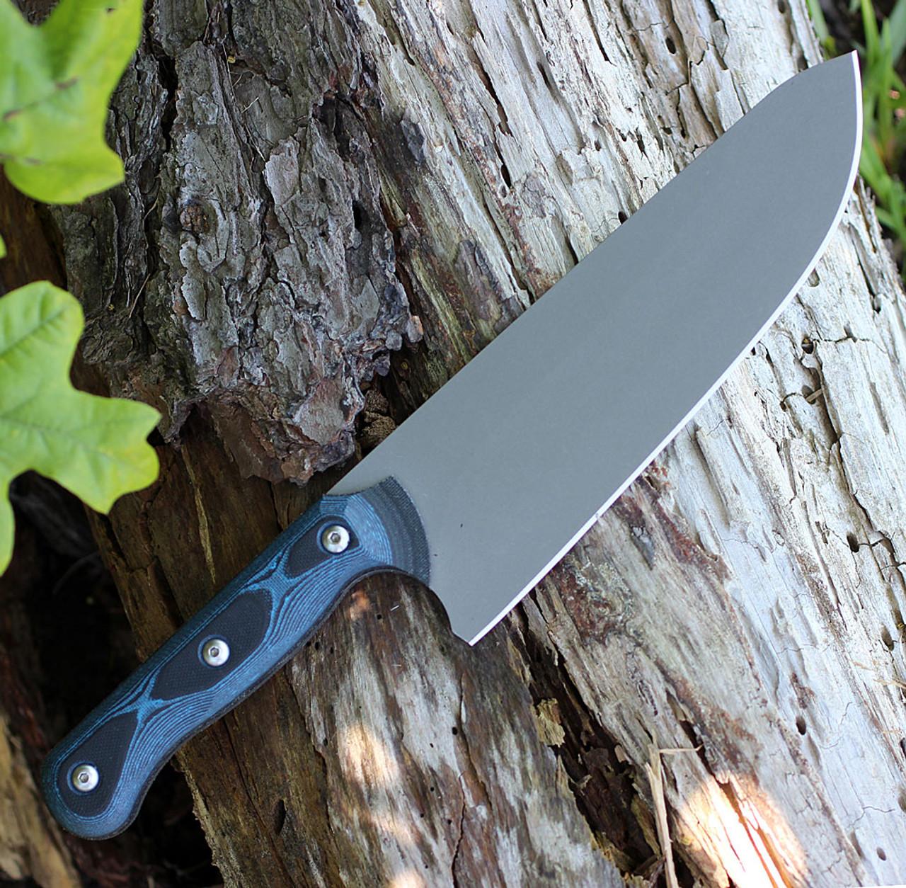 "TOPS Knives Dicer 8 Chef Knife DCR8-01, 7.75"" CPM S35VN Plain Blade, Black Canvas Micarta/Blue-Black G10 Handle"