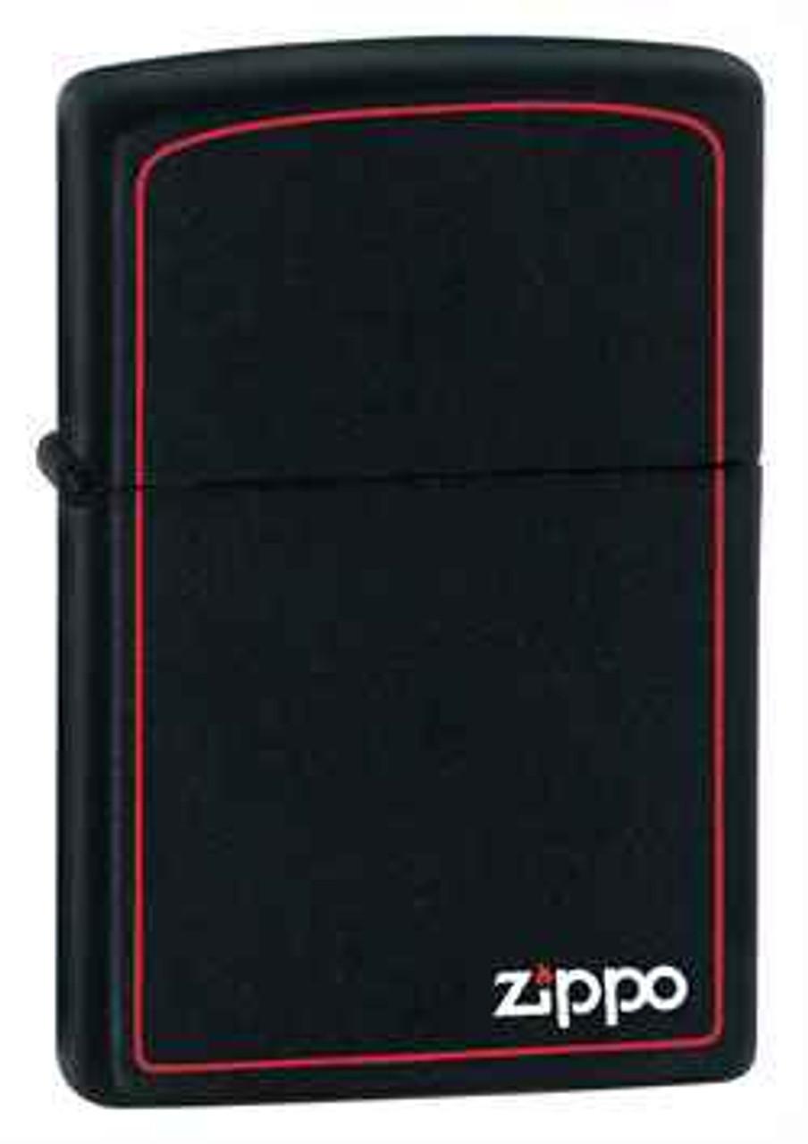 Zippo Z218ZB Lighter Black Matte With Zippo & Border