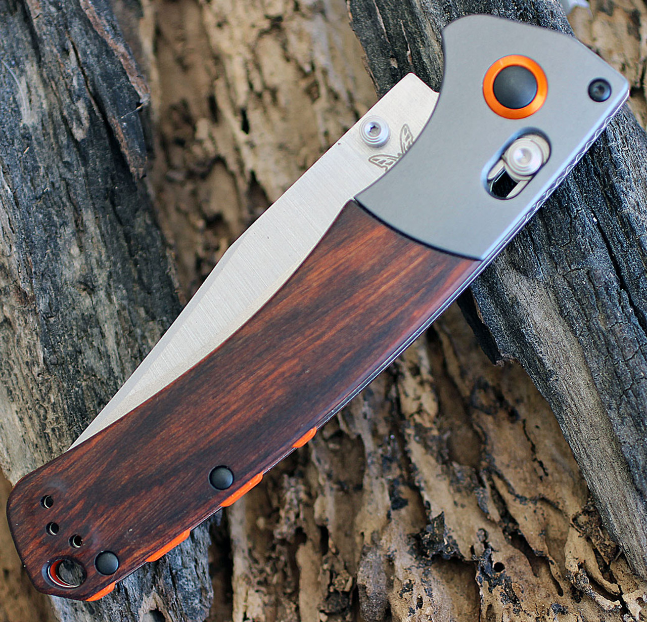 Benchmade HUNT 15080-2 Crooked River, 4 in CPM-S30V Plain Blade, Wood Handles