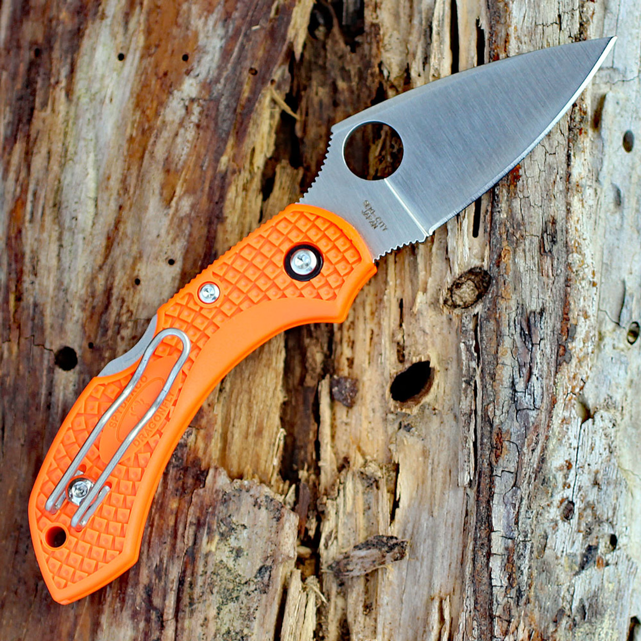 "Spyderco C28POR2 Dragonfly 2, 2.30"" VG-10 Plain Blade, Orange FRN Handle"