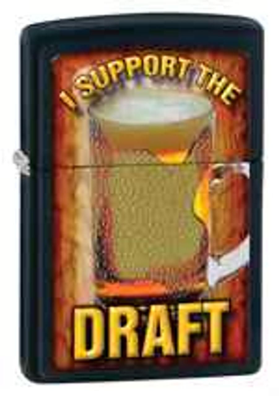 """Zippo Z28294 Classic Lighter, """"I Support the Draft"""" Beer Mug, Black Matte"""