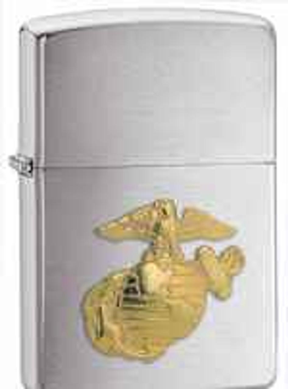 Zippo Z280MAR Classic Lighter, Gold Marines Emblem, Brushed Chrome