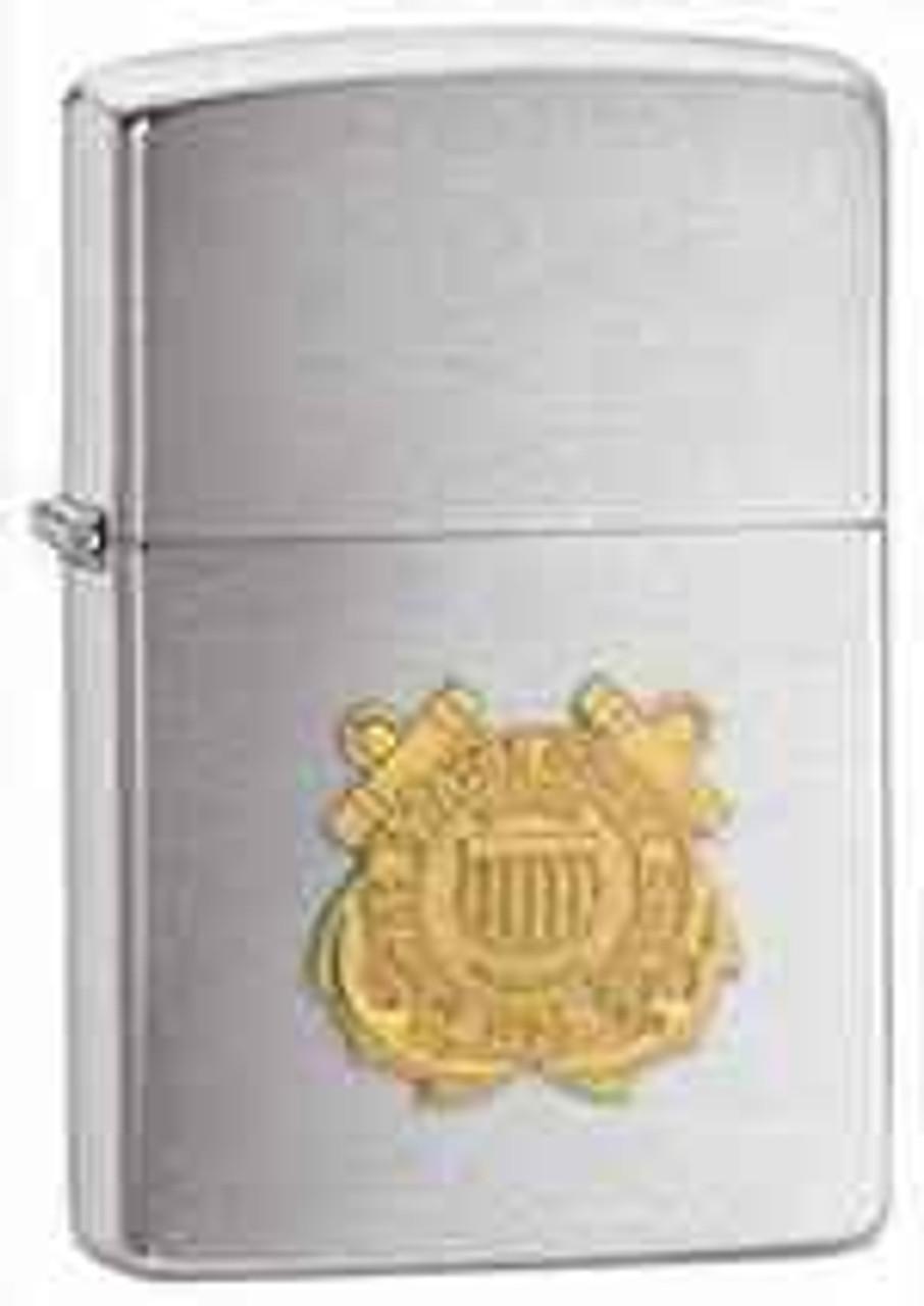 Zippo Z280CG Classic Lighter, Gold Coast Guard Emblem, Brushed Chrome