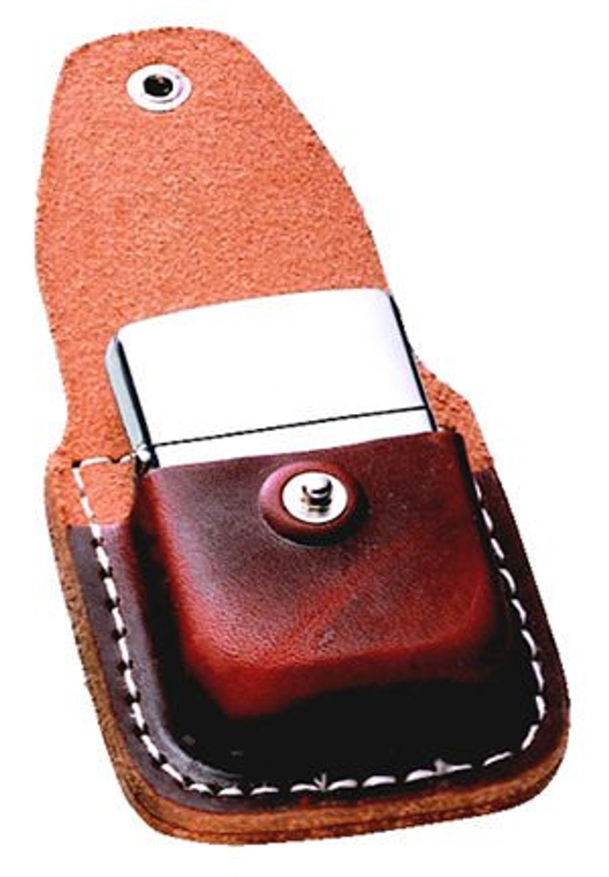 Zippo ZLPCB Brown Leather Lighter Pouch with Belt Clip