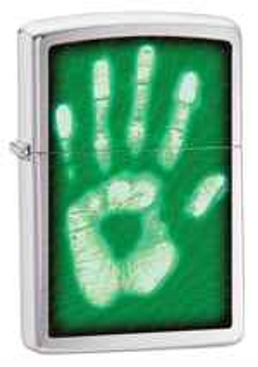 Zippo Z28283 Classic Lighter, Identity Handprint, Brushed Chrome