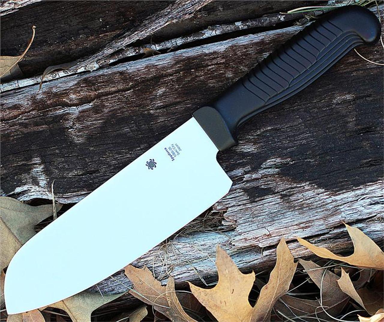 "Spyderco K08PBK Santoku Kitchen Knife, 7"" MBS-26 SS Plain Blade, Black Poly Handle"