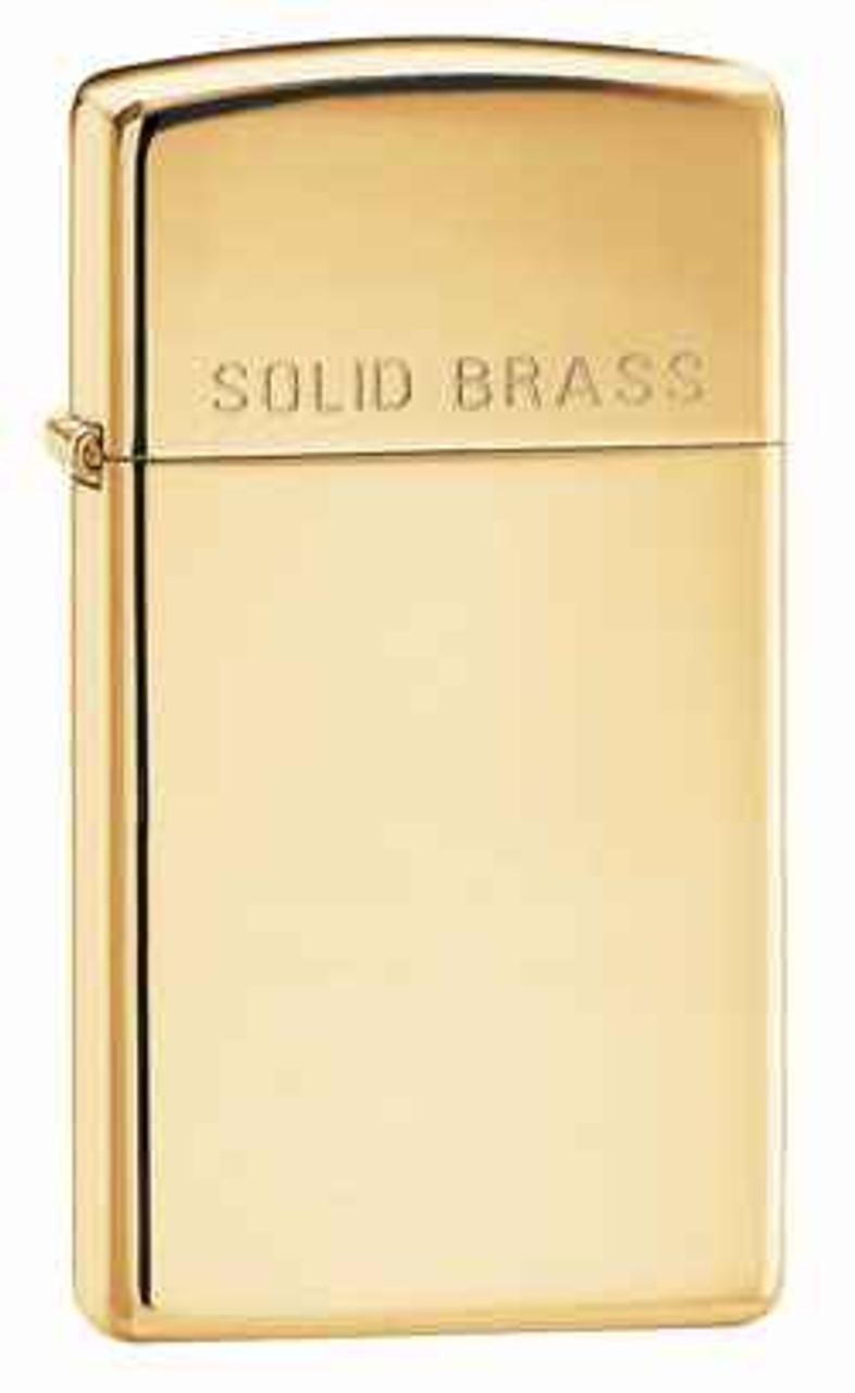 Zippo Z1654 Slim Lighter, High Polish Brass with Solid Brass Engraved