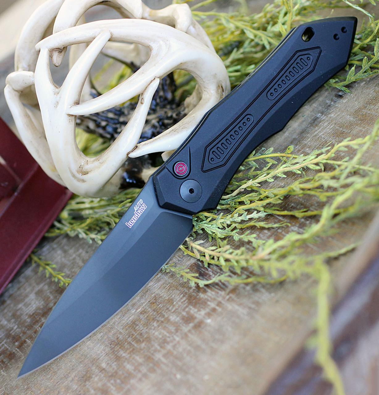 """Kershaw 7800BLK Launch #6 Auto, 3.75"""" CPM154 Plain Blade, Black Anodized Aluminum Handle"""