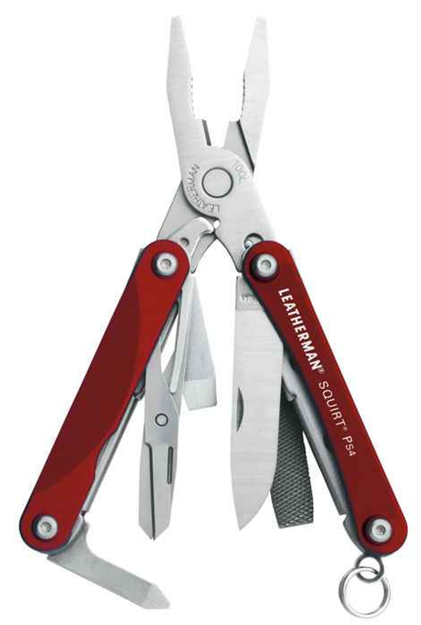 Leatherman 831189 Squirt PS4, Red Aluminum(9 TOOLS)