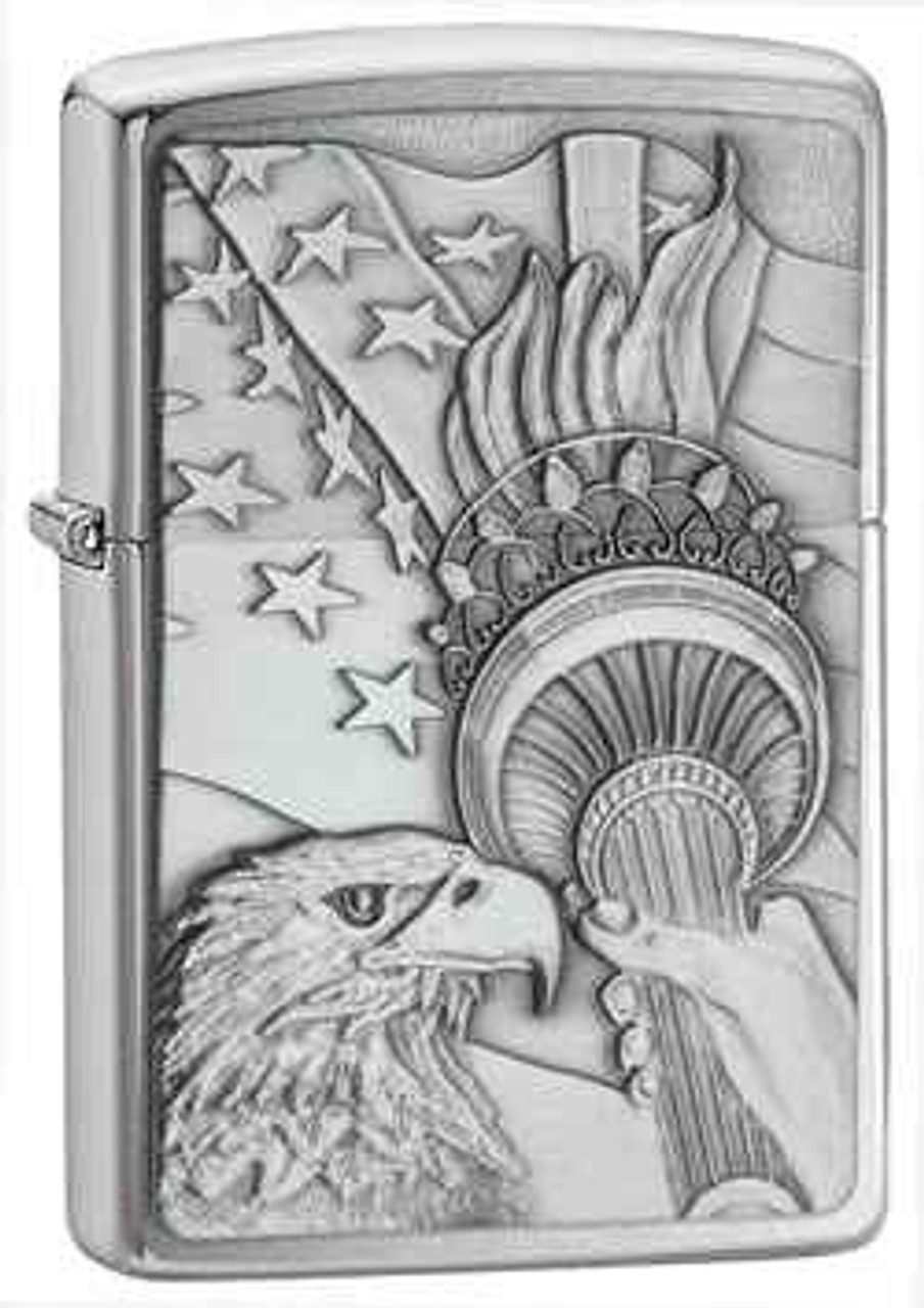 Zippo Z20895 Lighter Something Patriotic Emblem, Brushed Chrome