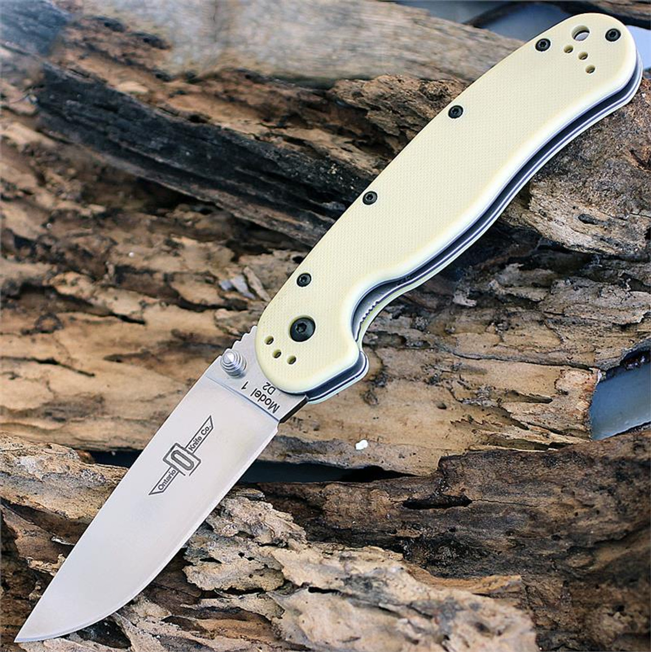 "Ontario RAT Model 1 Folder, 3.5"" D2 Blade Steel, Tan Handle"