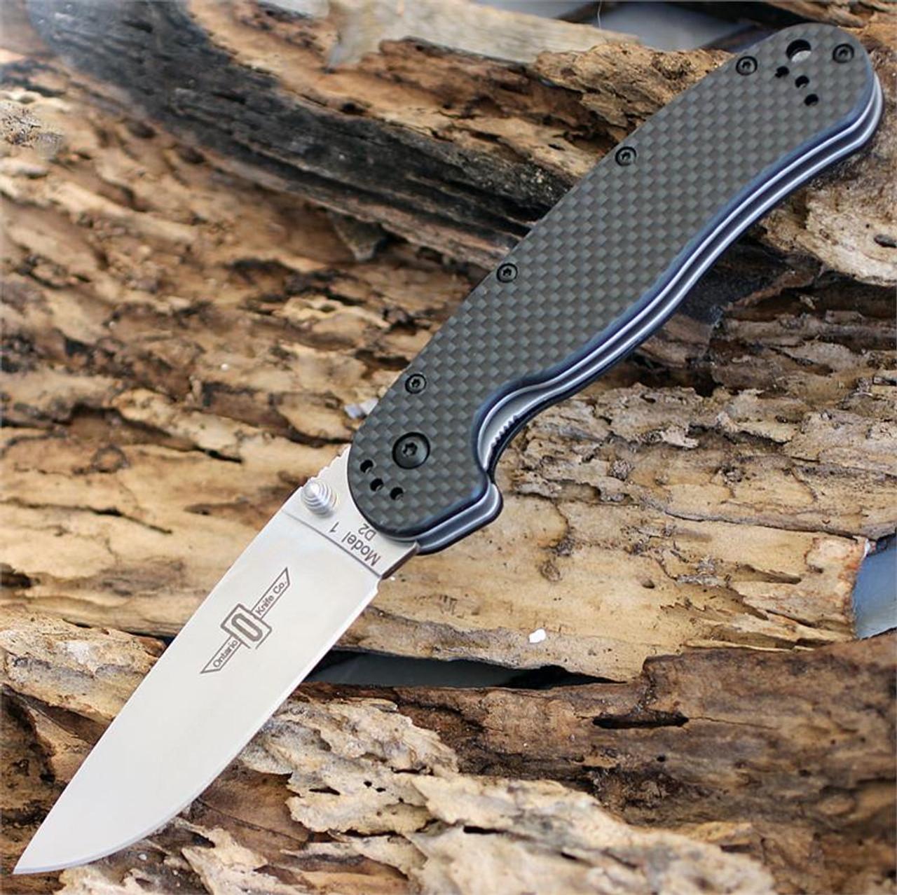 "Ontario RAT Model 1 Folder, 3.5"" D2 Blade Steel, Black Carbon Fiber Handle"
