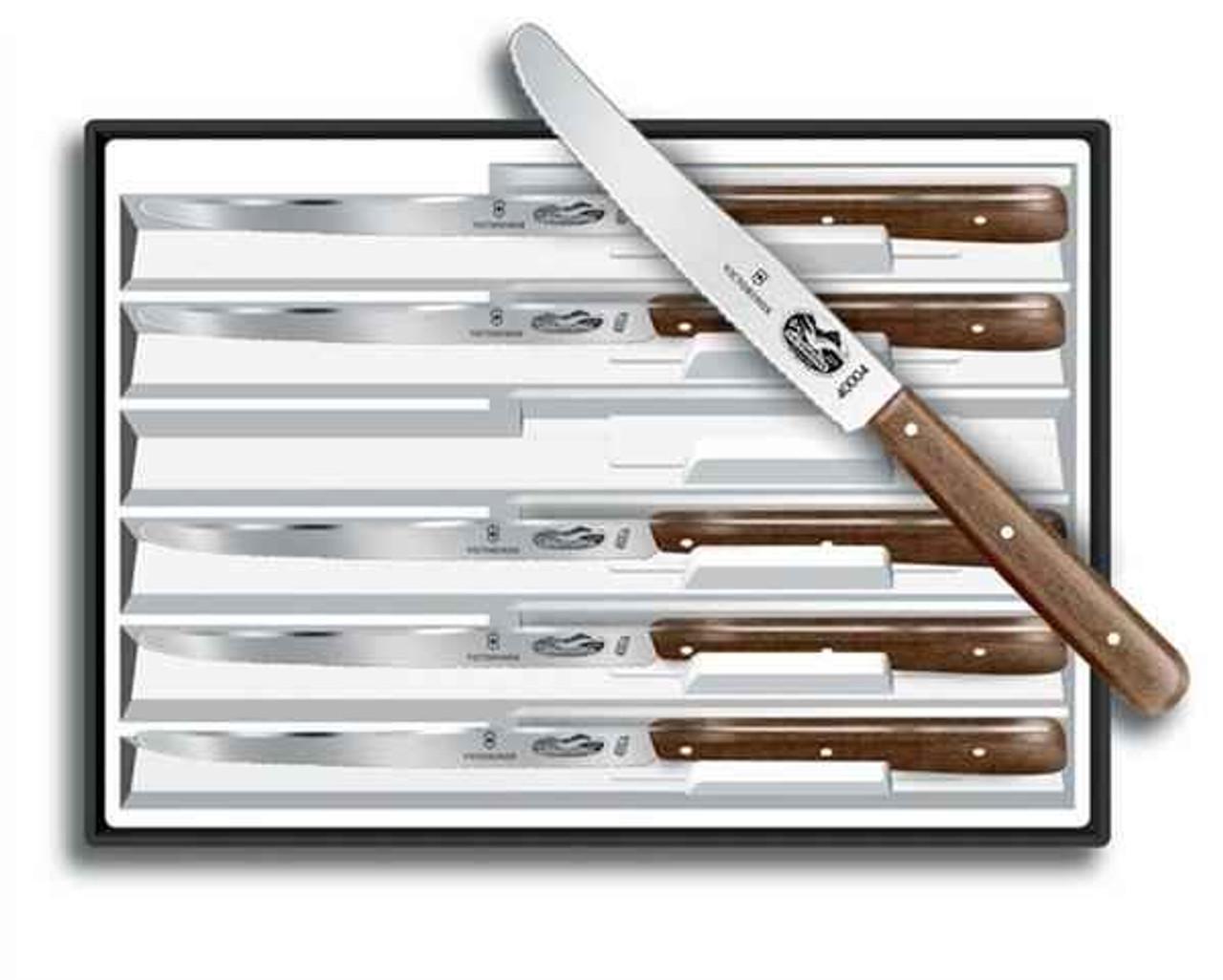 Forschner 6 Piece Steak Set, Round Tip, Wavy Edge Blade, Rosewood Handles