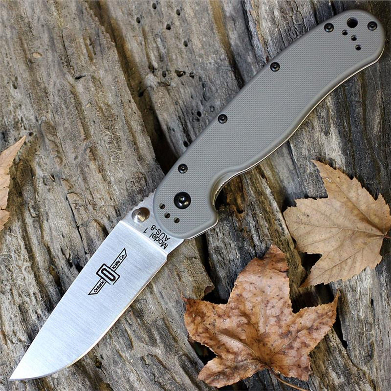 Ontario Rat Folder, Satin Blade, Grey Nylon Handles, Plain Edge